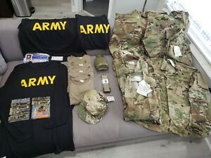 US Army Combat Lot of Miscellaneous Items Coats Trousers Shirts Hat and more