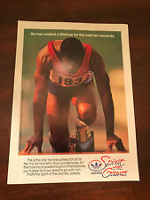 1984 VINTAGE 8X11 PRINT Ad FOR ADIDAS SPIRIT OF OLYMPIC GAMES SPRINTER ON BLOCK
