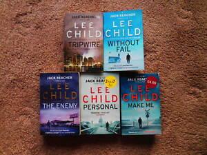 5 X LEE CHILD BOOKS, JACK REACHER SERIES, Nos. 11, 14, 5, 29, 33.  PAPERBACKS