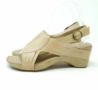 Clarks Beige Leather Quirky Shoes Heels Open Toe Slingbacks UK 4.5