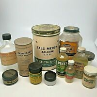 Vintage Advertising Jars & Bottles Apothecary Drug Store Lot of 12 Items