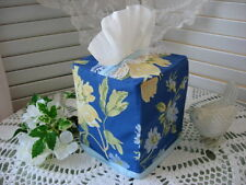 NEW Boutique TISSUE BOX COVER made w/ LAURA ASHLEY EMILIE Blue Floral Fabric