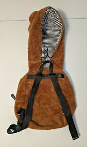 Betsey Johnson Brown Fuzzy Furry Hoodie Backpack Monster Bear Dog Animal Hood