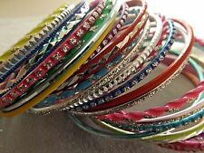 BRACELET/BANGLE MIX NEON COLORS ALUMINUM 2.5-7 MM WIDE 8 INCHES (24 PCS)