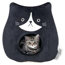 All Fur You Soft and Comfortable Cat Face Cat Cave Bed in Black