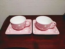Pampered Chef Coffee Mug & Plate Saucer Help Whip Cancer Set Of 2 polka dots