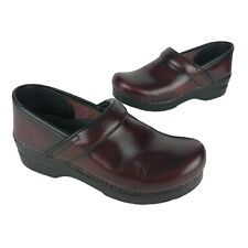 Dansko Clogs Burgundy Red Clogs Shoes Womens Size 38 Slip-Resistant Leather