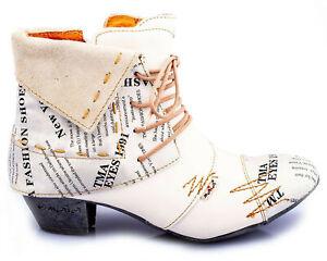 TMA 6106 Modische Damen Stiefeletten Stiefel Leder Schuhe weiss alle Gr.36-42