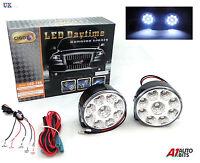 2X WHITE 12V 9 LED DRL ROUND DAYTIME RUNNING LIGHTS & RELAY DIMMER HARNESS