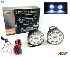 2X WHITE 12V 9 LED DRL ROUND DAYTIME RUNNING LIGHTS & RELAY DIMMER HARNESS
