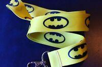 DC comics  BATMAN Classic yellow bk Lanyard Neck Strap Keychain ID Badge Holder