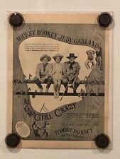 GIRL CRAZY Vintage Original Magazine Advertisement - 1943 - JUDY GARLAND/ROONEY