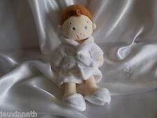 Doudou poupée garçon, peignoir blanc, Mots d'enfants