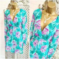 DEBENHAMS 💋 UK 18 Turquoise Floral Chiffon Fit & Flare Tunic Dress ~Free P&P~