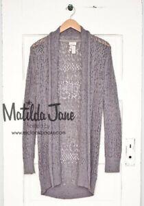 Matilda Jane Secret Fields Pixie Dust Sweater Open Knit Cardigan Gray Medium