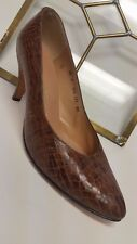 Amano Vtg Mock Reptile High Heels Brown Leather Pumps Shoes Women's sz 6 1/2 C.