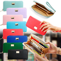 Women Lady Zipper  Faux Leather Clutch Phone Bag Long Purse Wallet Card Holder
