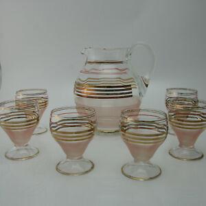 50er Saftkrug / Wasserkrug mit 6 Gläser Becherglas dünnwandig Goldrand rosa