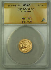 1925-D $2.50 Indian Quarter Eagle Gold Coin ANACS MS-60 Details Cleaned