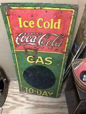 "Coca Cola Gasoline Metal Sign 38"" X 12"""