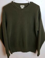LL BEAN Ribbed Knit Sweater Mens XL Olive Green Military Cotton Crew Neck 0 QY58