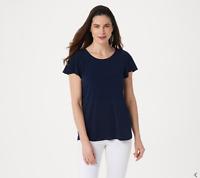 Susan Graver Liquid Knit Scoop-Neck Flutter Sleeve Top, Solid Navy, 1X