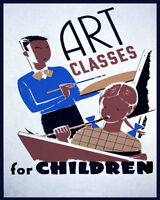 POSTER ART CLASSES FOR CHILDREN PAINTING TRAINING VINTAGE REPRO FREE S/H