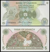 UGANDA 5 Shillings, 1982,  P-15, Woman Picking Coffee, UNC World Currency