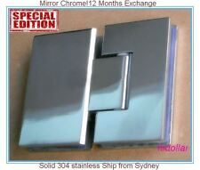 MIRROR CHROME STAINLESS SHOWER SCREEN GLASS HINGE SHOWERSCREEN HOLDER 180 DEGREE