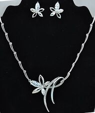 Floral Wedding Costume Necklace Earrings Jewellery Set use Swarovski Crystals