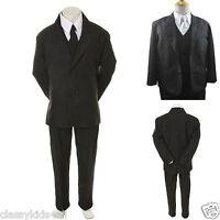 New Boys Toddler Kid Formal Wedding Tuxedo Suit Vest + Free White Tie Sz 5 to 14