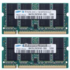 Samsung 2GB Kit 2x1GB PC2700S DDR333MHz DDR 200pin Sodimm Laptop Memory NON-ECC