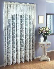 """Six (6) Floral Vine Lace Panels, each 60""""x84"""" White"""