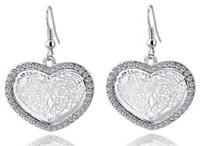 18K White Gold Plated Heart Filigree Drop Dangle Hook Earrings Austrian Crystals