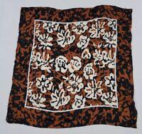 "Vintage Oscar De La Renta Japan Floral Print Scarf Brown Black White 30"" Square"