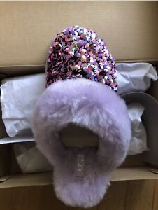 UGG New Scuffette Sequin Slippers - 11 Lilac Frost