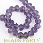 New 30pcs 8X6mm Rondelle Faceted Loose Spacer Glass Beads Bulk Bluish Violet