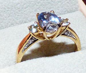 Chameleon Tanzanite Gold Ring  - Ornate Setting