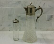 Vintage Diamond Cut Glass and Silver Carafe Decanter Ships Free Chocolate Pot?