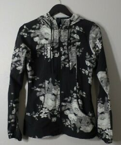 ALBION Black Gray Roses Flowers Zip Up Lightweight Stretchy Jacket Fitness Sz S