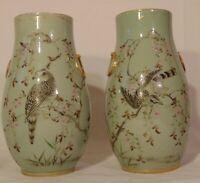 Pr Antique Japanese  Porcelain Celadon Enamel Vases Eagle Birds 19th C