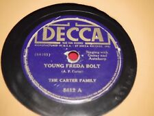 The Carter Family Decca 5612 1938 78 RPM Young Freda Bolt Who's That Knockin' G+