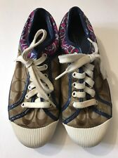 Coach Zorra Signature Khaki Navy Blue Ocelot Animal Sneakers 7.5