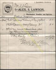 1911 SANDBED, HAWICK, ALEX S. LAWSON, WATCHMAKER, JEWELLER, OPTICIAN, BILLHEAD