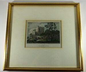 Framed Early Antique Hand Coloured Engraving West Tower of Goodrich Castle C1845