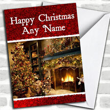 Fireplace Christmas Customised Card Personalized