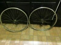 "Vintage Schwinn Bicycle Wheels, Pair--26"" x 1 3/8"" with 3 Speed Hub and Shifter"