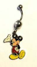 Hello Mickey Mouse Gemmed Belly Ring Navel Ring 14G Surgical Steel