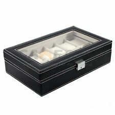 12 Slot Watch Box Leather Display Case Organizer Top Glass Jewelry Storage Black