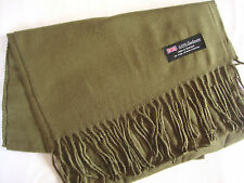 100% Cashmere Winter Scarf Scarve Scotland Warm Solid Olive Green Shawl Neck NEW